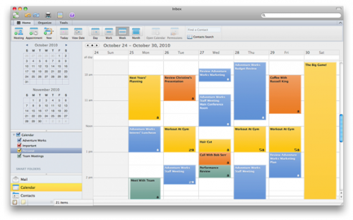 Outlook Calendar, events, meetings